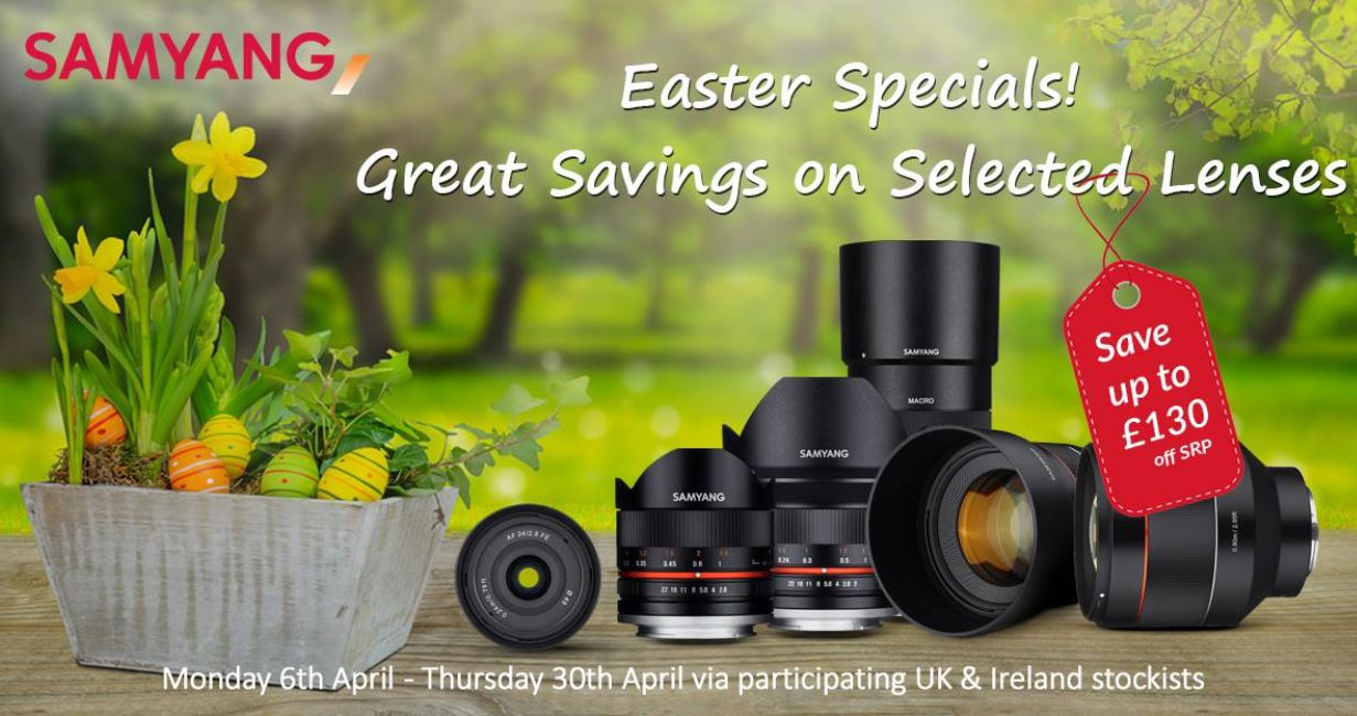 Save up to £130 on Samyang Lenses until 30th April.